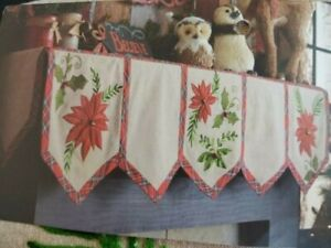 NIP Pier 1 Christmas Mantle table Scarf Poinsettia & Plaid Embroidered 84x24