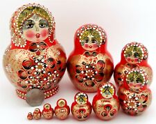 Russian Matryoshka Nesting Dolls HAND PAINTED 10 ORANGE RED GOLD signed Aymasova