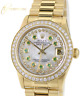 Rolex Datejust  68278 Midsize President 18K Yellow Gold  White MOP Emerald Dial