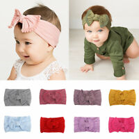 Newborn Hair Band Toddler Baby Bow Knot Elastic Nylon Headband Beanie Headwear