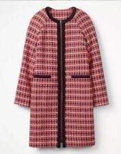 NWT Boden Gingham Tweed Coat Red Blue Check Statement Coat Zipper $298 14US 18UK