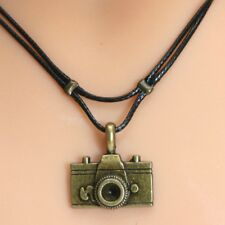 Collier pendentif appareil photo cordon noir bronze tone camera necklace cord