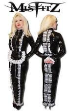 Misfitz schwarz PVC Vorhängeschloss Zwangsjacke humpeln Mistress Dienstmädchen Kleid Größe 22