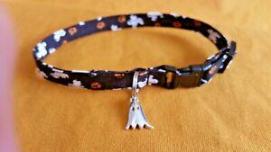 Halloween Fabric Cat Collar Handmade - Ghosts & Pumpkins On Black w/Ghost Charm
