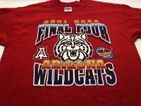 Men's University of Arizona Wildcats 2001 NCAA Final Four Red T Shirt Size XL