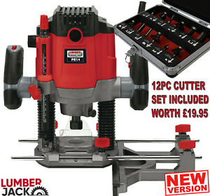 """Lumberjack 1/4"""" Plunge Router Variable Speed Electric 1200w with Side Fence 240v"""