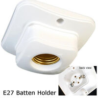 E27 Edison Screw Plastic Ceiling wall mount BULB Light Batten holder white NEW