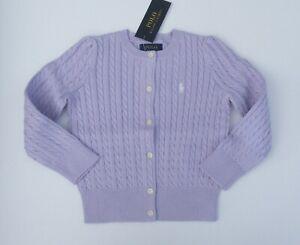 NWT Ralph Lauren Girls Mini Cable Cotton Cardigan Sweater Purple 2/2t NEW $40