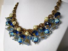 Glass Cluster Charm Necklace Blue Lampwork Beads Crystal w Antique Haskell Chain