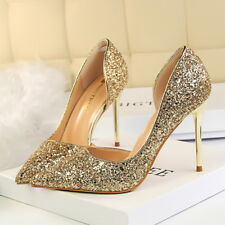 Women Classic Pumps Bling Stilettos Slip On High Heel Wedding US 7= CN 38 Gold