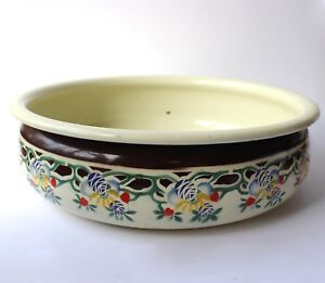Antique Enamel Wash Basin Water Bowl Stencilled D40.5cm Art Nouveau c1900 French