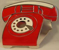 Rouge Rétro cadran rond téléphone boucle pour fix à votre sa ceinture old style