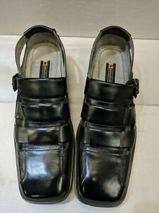 Stacy Adams Fisherman Sandals, Mens Size 11 M, Black Leather