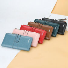 Women's  Large Capacity Leather Double Zipper Long Purse Wallet Phone Bag