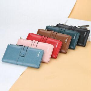 Women's W3 Large Capacity Leather Double Zipper Long Purse Wallet Phone Bag