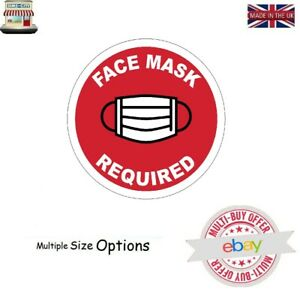 FACE MASK REQUIRED TAXI BUS CAR SHOP BUSINESS PUB DOOR BADGE STICKER SIGN FMR1