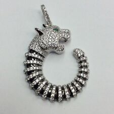REAL STERLING SILVER White/Green CZ & Black Rhodium Plate Panther PENDANT 7.6g