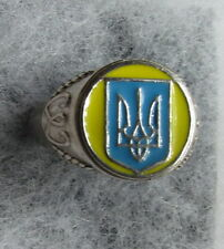 Unisex Sterling Silver Ring with Ukrainian Trident Tryzub, Enamel, Size 10.5