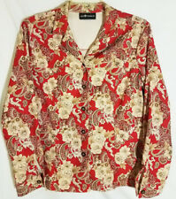 Spring Sale! Sag Harbor Red & Cream Tailored Floral Print Blouse Sz M-L Perfect!