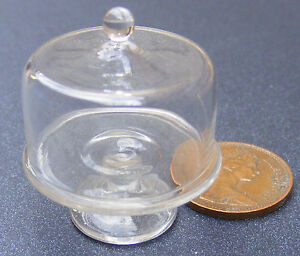1:12 Scale Raised Real Glass Cake Stand With A Cover Tumdee Dolls House G20M