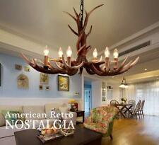 Retro Chandelier Deer Horn Antler Resin 6-Lights Pendant Lamp Hanging Fixture
