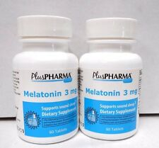 PlusPharma Melatonin 3mg 60ct -2 Pack (120 Total Tablets)  Exp. Date 10-2020-