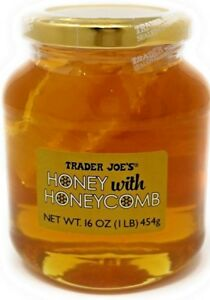 Trader Joe's RAW Honeycomb 1 Pound Honey Jar Raw Honeycomb Priority ship free