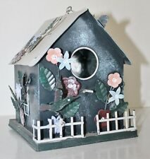 Adorable Cottage Designed Birdhouse With Flowers Birds - Metal - Garden Decor