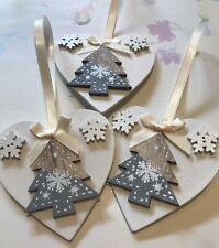 3 X Nordic Christmas Decorations Shabby Chic Wood Heart Tree Bows Cream Grey