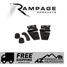 Rampage Hood Hinge Stop & Footman Loop Kit fits 07-18 Jeep Wrangler JK JKU Black