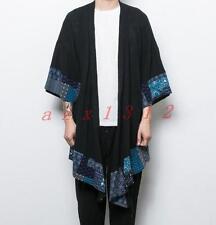 Chic Men's Ehnic Prints Cardigan Long Cloak Cape Coat Poncho Loose Fit Comfort