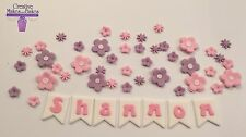 Flowers butterflies Bunting Name Edible  Fondant Birthday Cake Topper ANY COLOUR