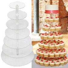 7 Tier Wedding Cupcake Stand Clear Acrylic Round Birthday Cake Display Tower USA