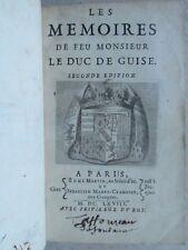 LES MEMOIRES DE FEU MONSIEUR LE DUC DE GUISE, 1668. Bel exemplaire