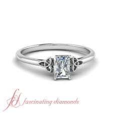 1/2 Carat Radiant Cut Diamond Celtic Pattern Cathedral Solitaire Engagement Ring