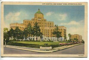 Vintage Postcard City Hospital and Nurses Home Springfield OH Linen 5A-H1216