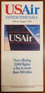 US AIR AIRLINES - SYSTEM TIMETABLE - 5 AUGUST 1989