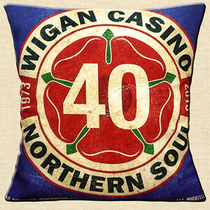 """Wigan Casino 40 Years 16""""x16"""" 40cm Cushion Cover Northern Soul Music 1973-2013"""