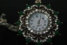 Turkish Ottoman Style Vintage 0.25 Carat Emerald CZ Bronze Wrist Bracelet Watch