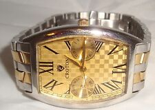 Mens Gold Tone Croton Watch Stainless Steel Sapphire Crystal Japan Movement