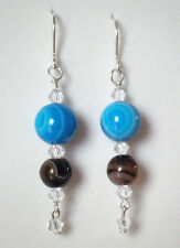 Blue and chocolate banded agate drop earrings silver plated hook 5.75cm