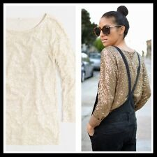 J. Crew $88 Long Sleeve Cream Off White Glimmer Tee Sequin Top Blouse - Large