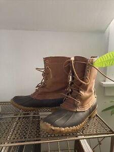 """LL BEAN Women's BOOTS sz 8 BEAN BOOTS Duck Boot Tan Brown Rubber Leather 8"""" Hip"""
