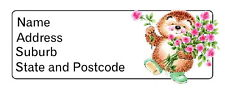 30 Personalised Quality Plus  Adhesive Address Labels - Hedgehog with Flowers