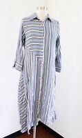 Soft Surroundings Standout Dress Blue Striped Asymmetrical Hem Knit Size S
