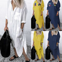 ZANZEA Womens Buttons V Neck Long Sleeve Tunic Shirt Dress Ladies Midi Dresses