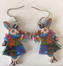 Multi Colored Acrylic Cartoon Rabbit Earring Set. Blue.