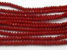 150 Pcs 2X3mm Faceted Rondelle Bead Crystal Glass Beads~Red Coral Color
