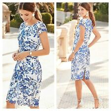 Together Size 18 Blue White Floral Guipure Lace Shift DRESS Current Season £85