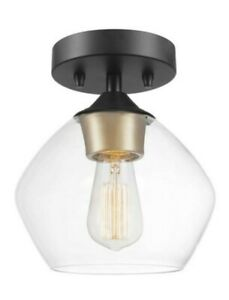 Globe Electric Harrow 1-Light Semi Flush Mount Light Matte Black 60333
